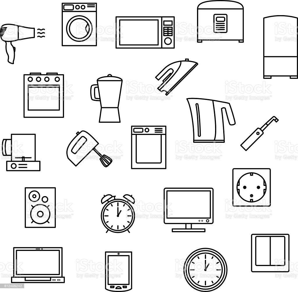 Household equipment and facilities vector art illustration