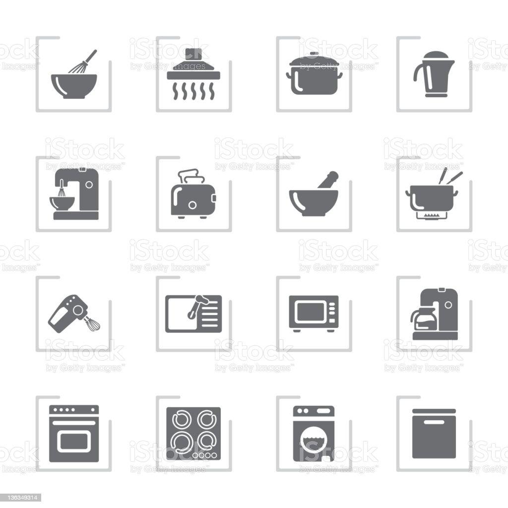 Household Icons | Framed Grey vector art illustration