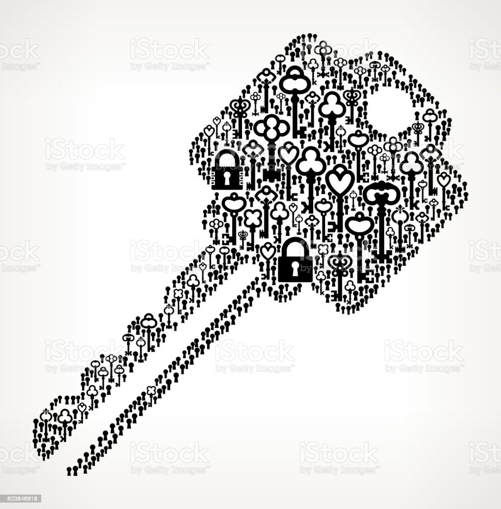 Household Key Antique Keys Black and White Vector Pattern vector art illustration