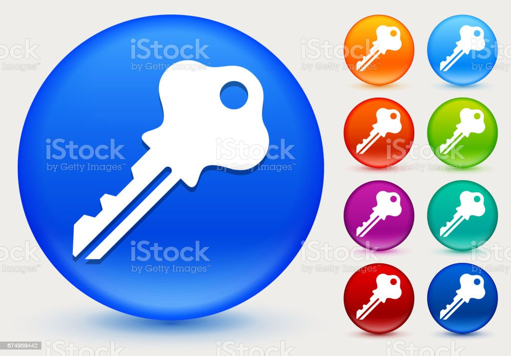 Household Key Icon on Shiny Color Circle Buttons vector art illustration