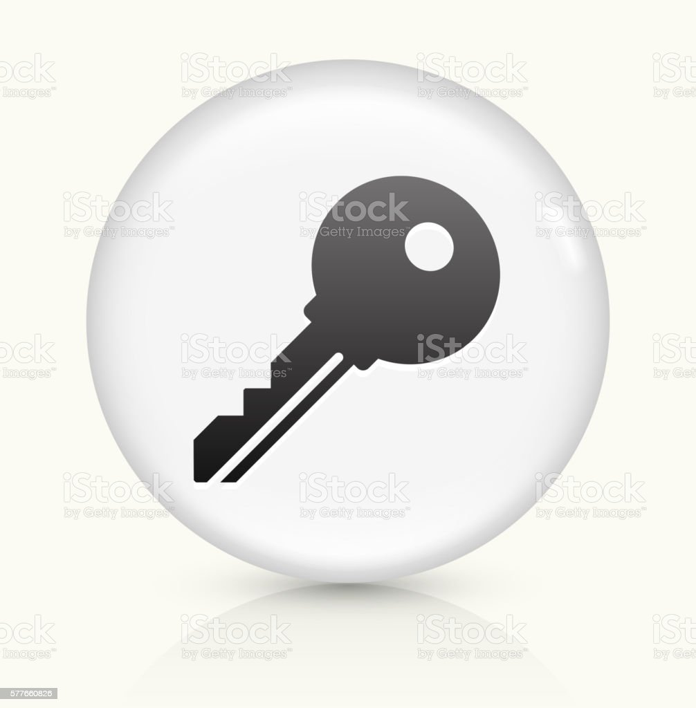 Household Key icon on white round vector button vector art illustration