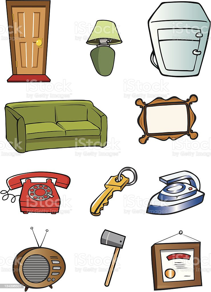 household objects royalty-free stock vector art