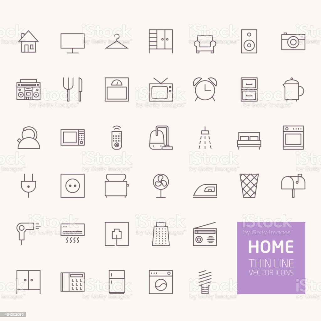 Household Outline Icons for web and mobile apps vector art illustration