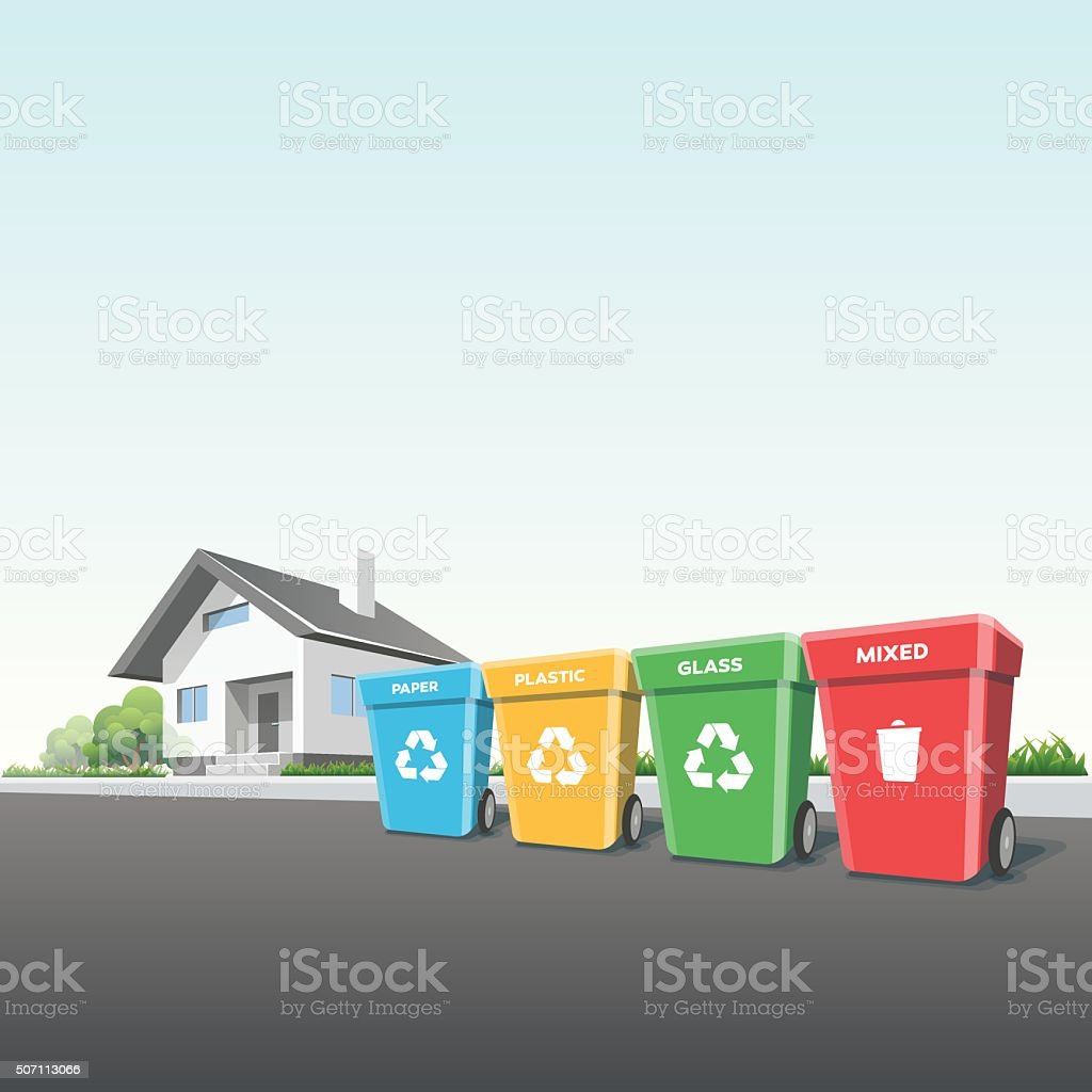 Household Recycling Waste Bins outside of a House vector art illustration