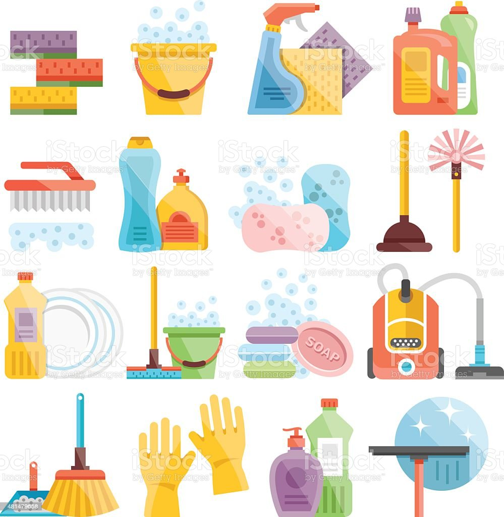 Household supplies and cleaning flat icons set vector art illustration