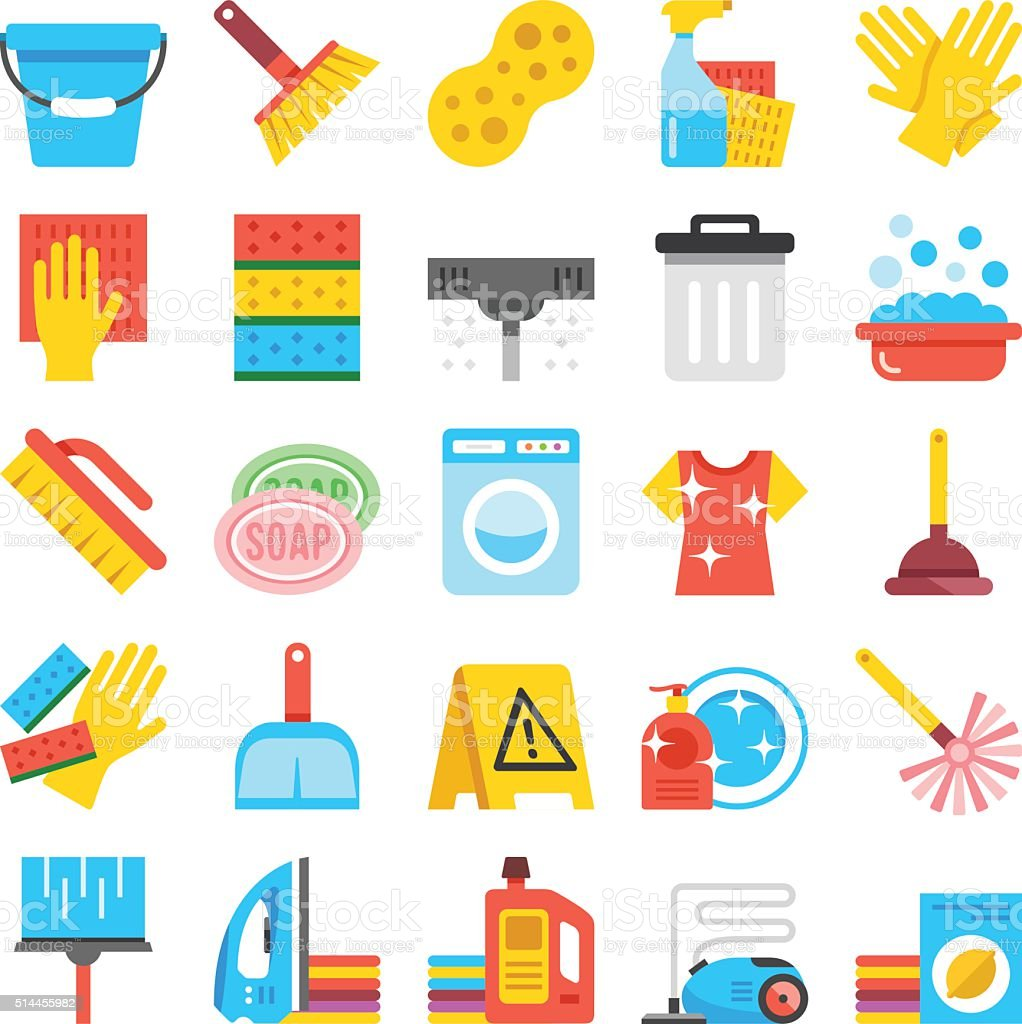 Household supplies icons set. Cleaning flat icons, vector icons set vector art illustration
