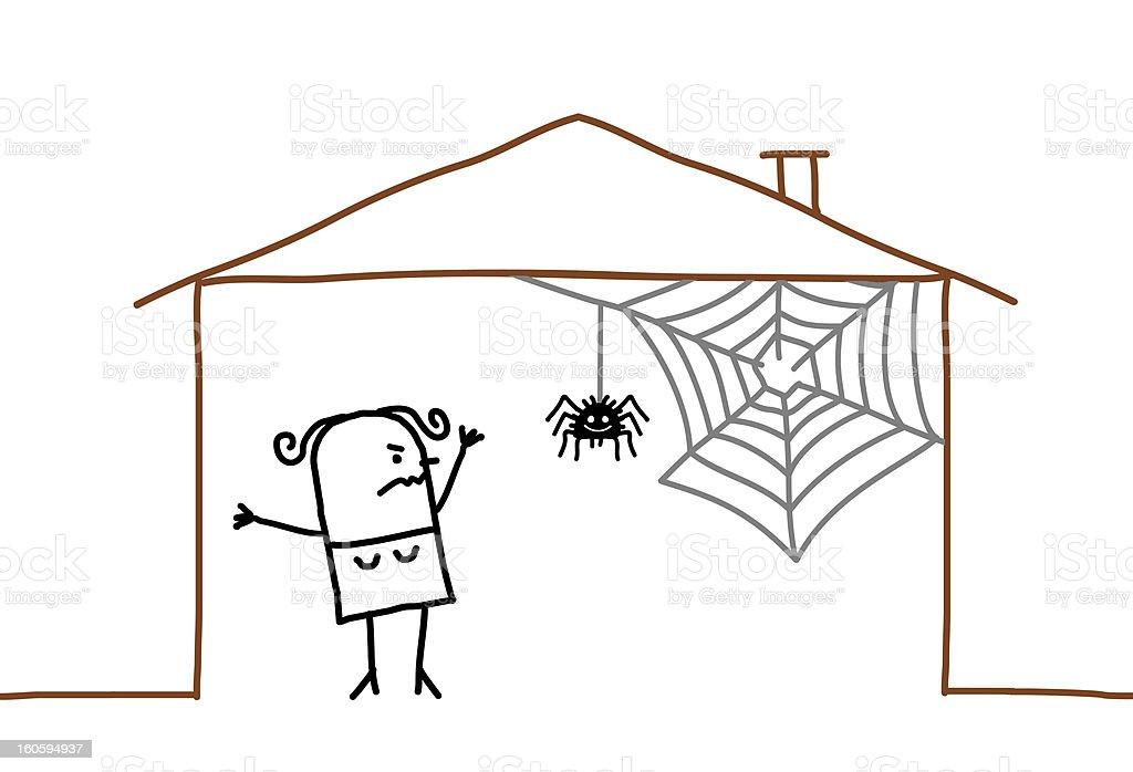 housekeeping & spider web stock photo