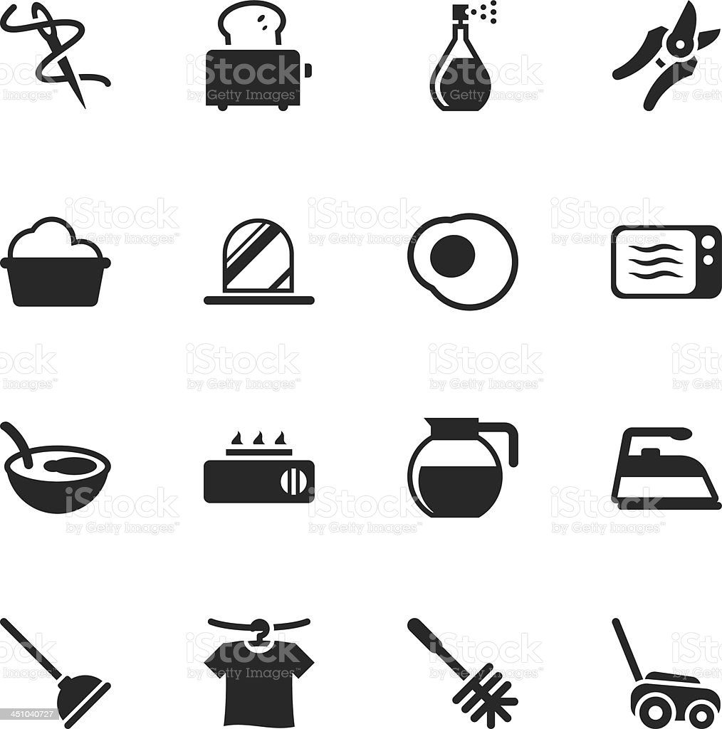 Housekeeping Silhouette Icons royalty-free stock vector art