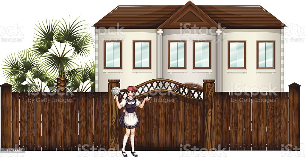 housemaid in front of the big house vector art illustration