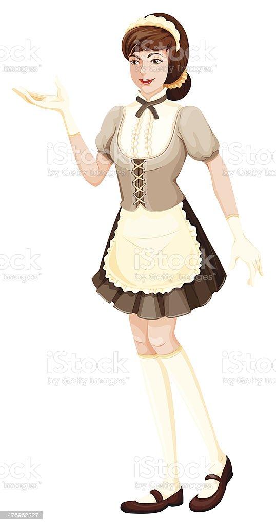 housemaid vector art illustration