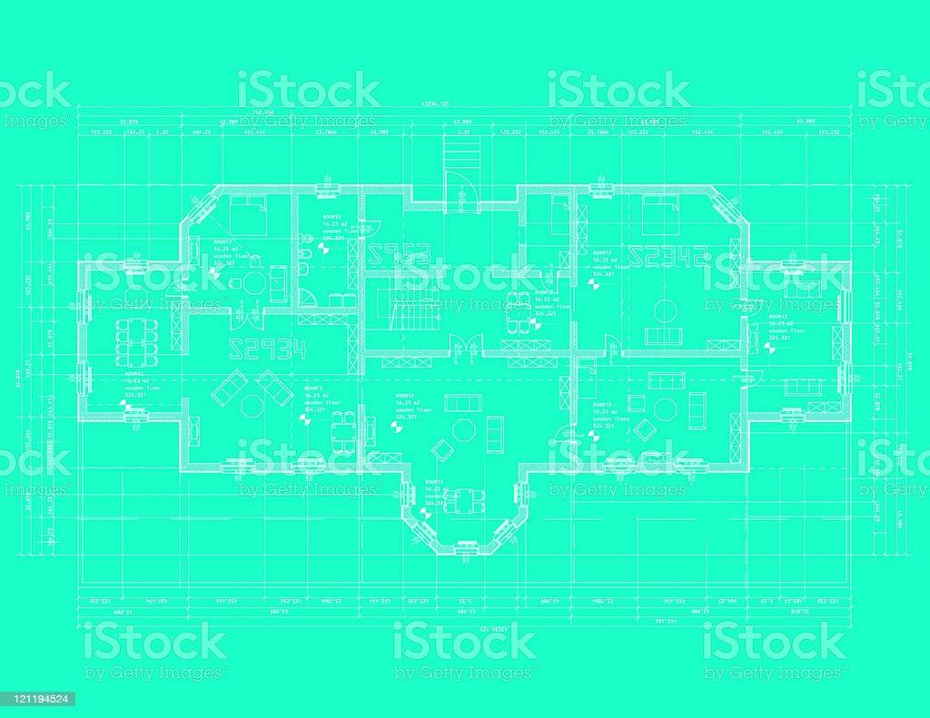 Houseplan blue royalty-free stock vector art