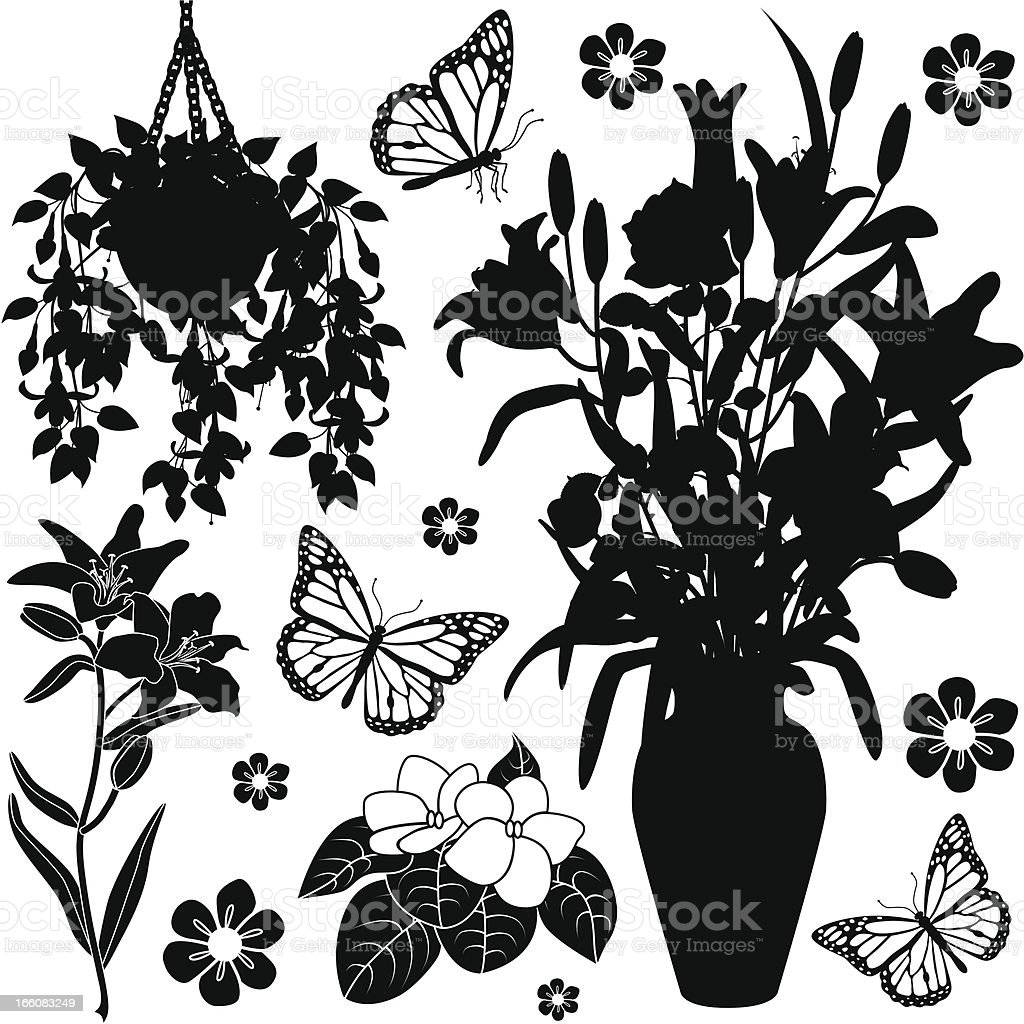 houseplants design elements vector art illustration