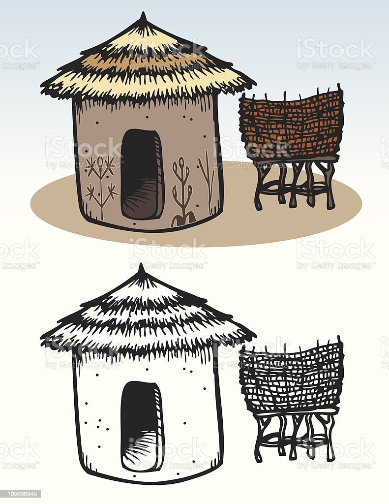 Houses - African Hut royalty-free stock vector art