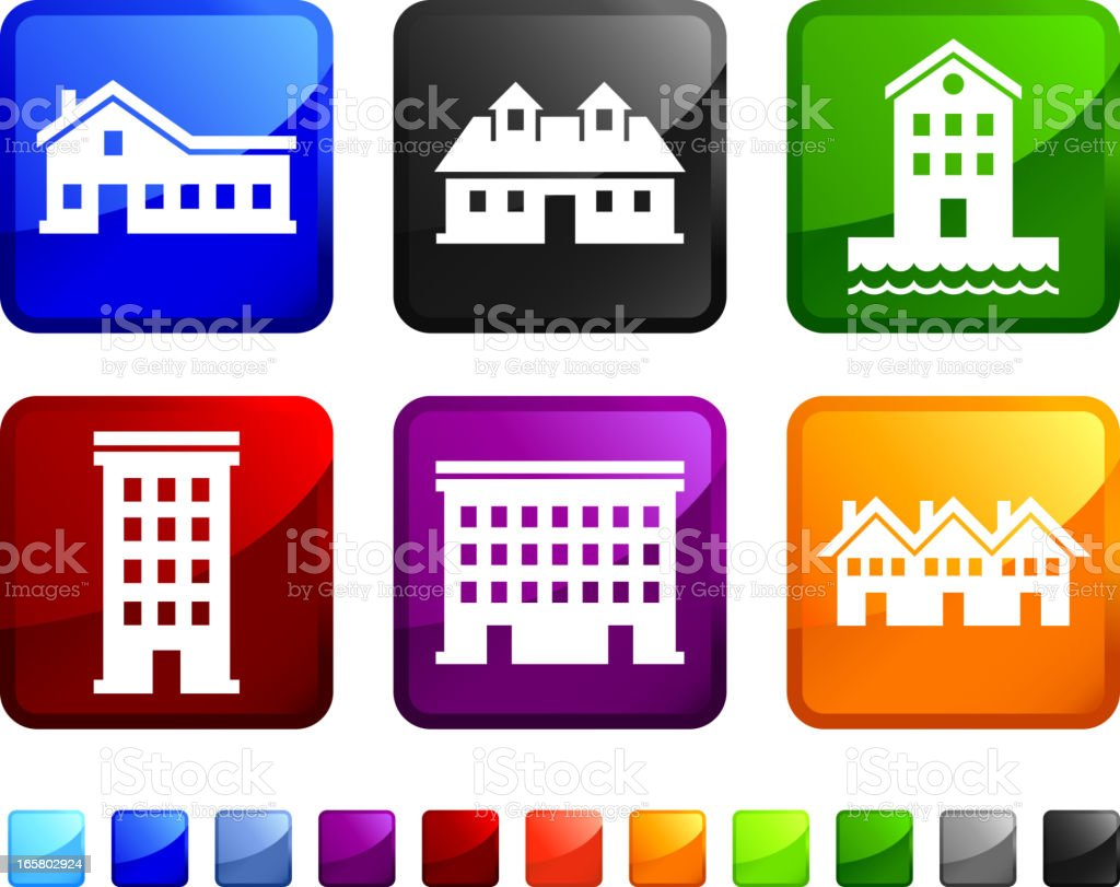 Houses and Homes royalty free vector icon set stickers vector art illustration