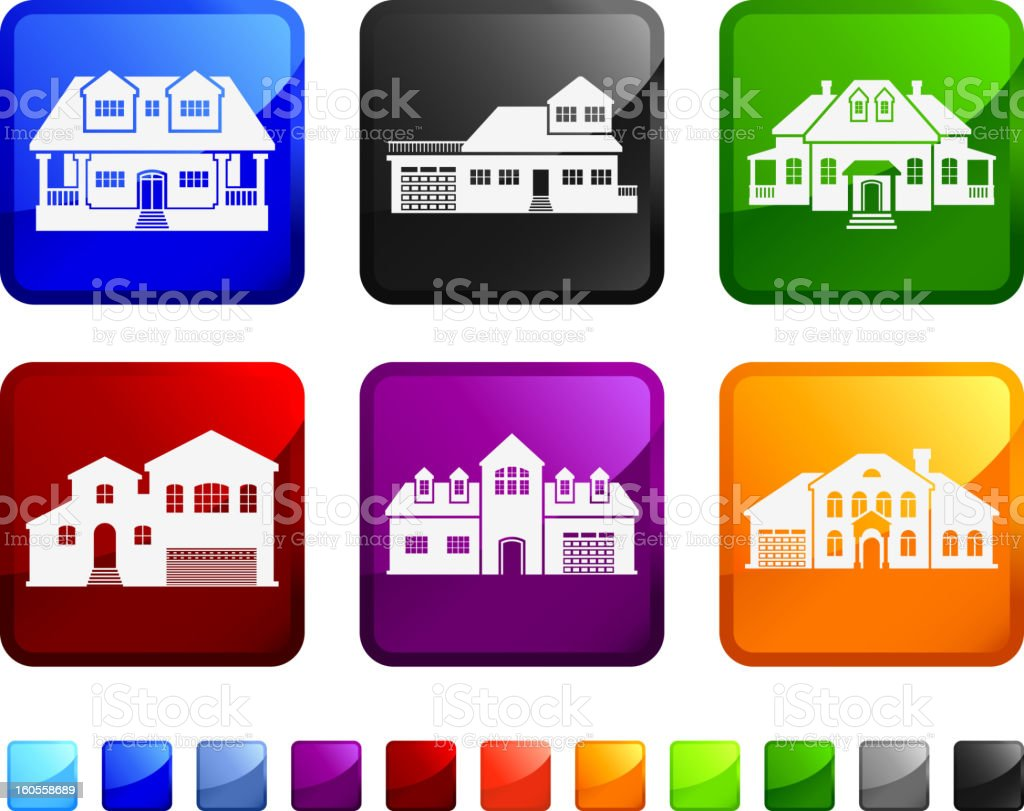 Houses and Mansions royalty free vector icon set stickers royalty-free stock vector art