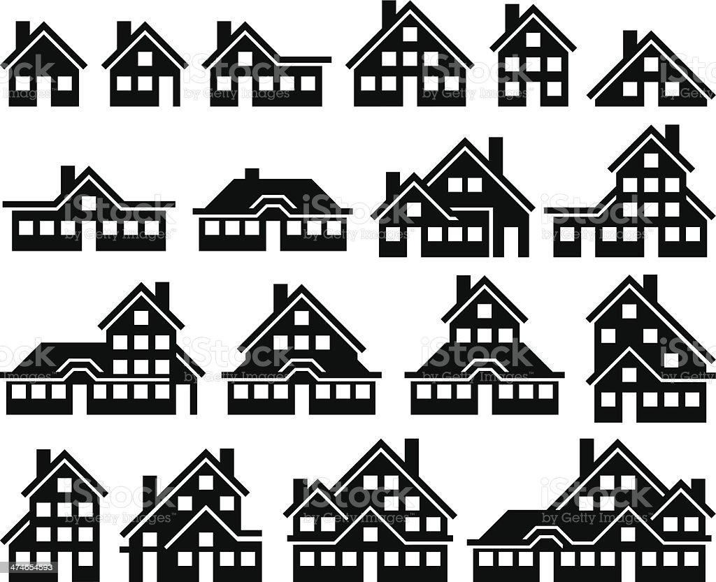 Houses Building black icon set vector art illustration