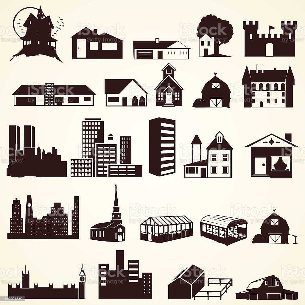 Houses buildings silhouettes vector art illustration