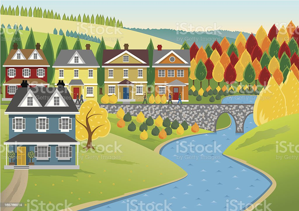 Houses by the River vector art illustration