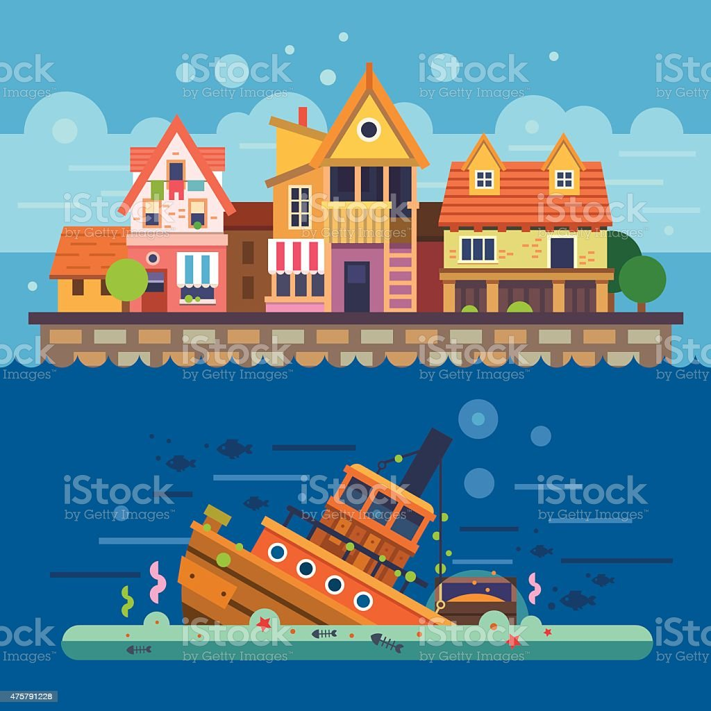 Houses by the sea. Embankment. Houses vector art illustration