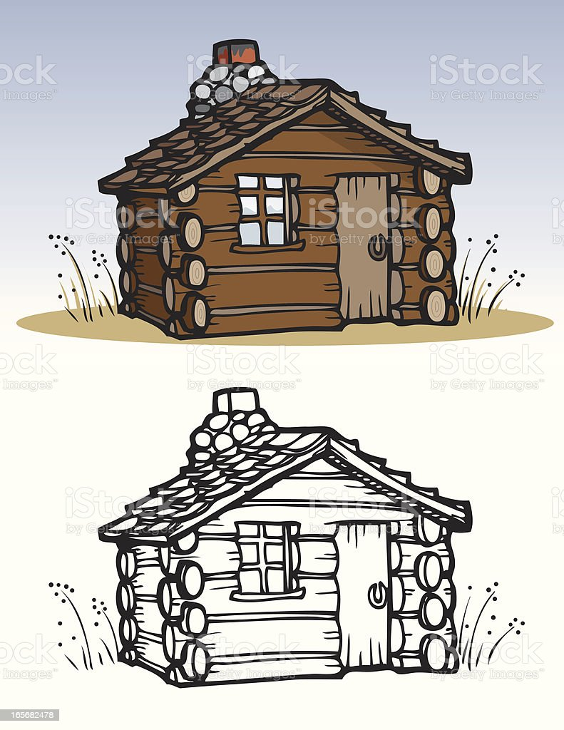 Houses - Cabin vector art illustration
