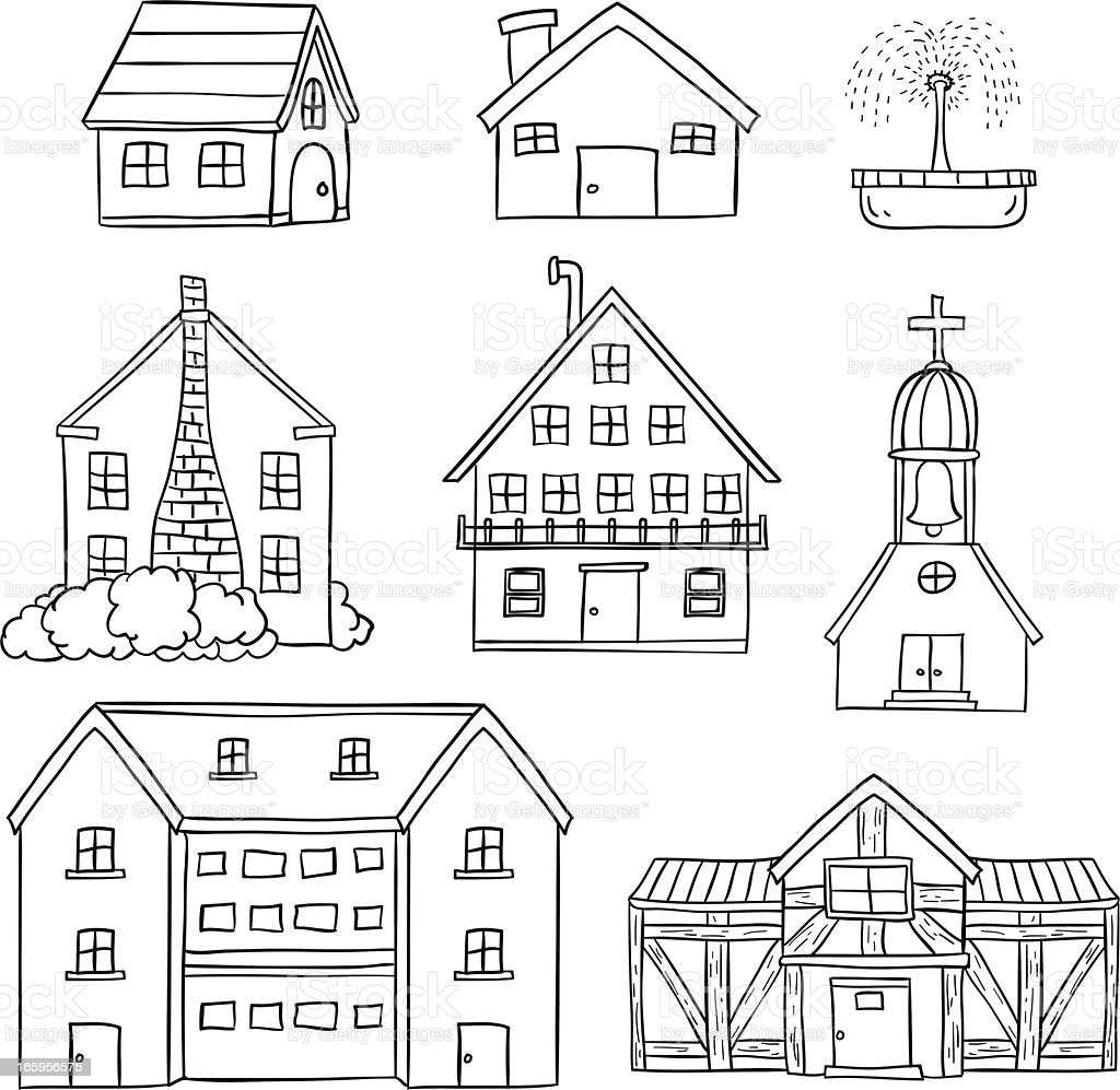 Houses collection in black and white vector art illustration