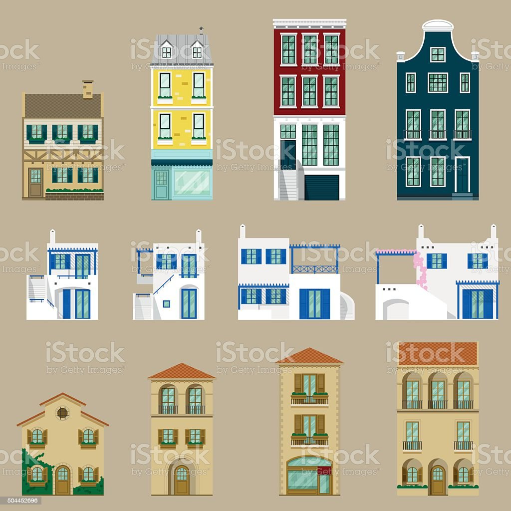 Houses collection,Europe house vector art illustration