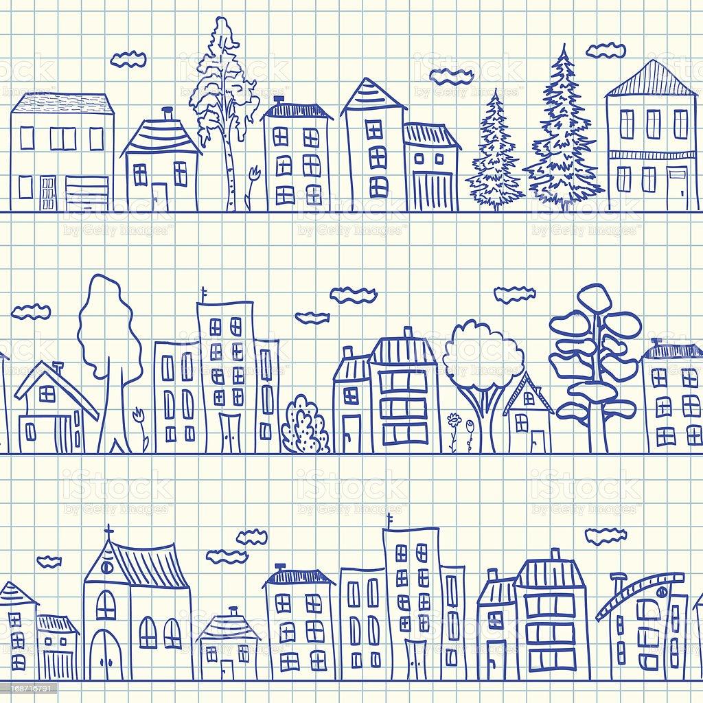 Houses doodles seamless pattern vector art illustration
