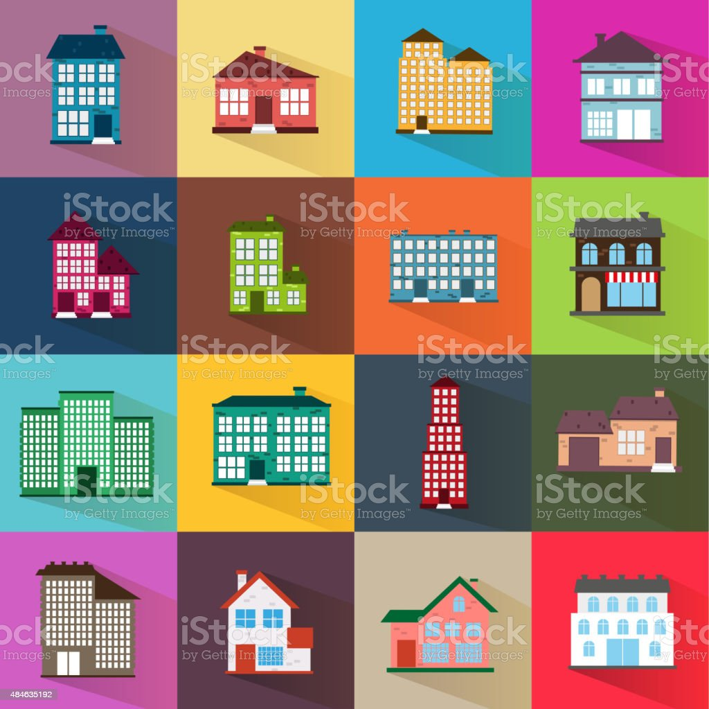 Houses icons set flat style vector art illustration