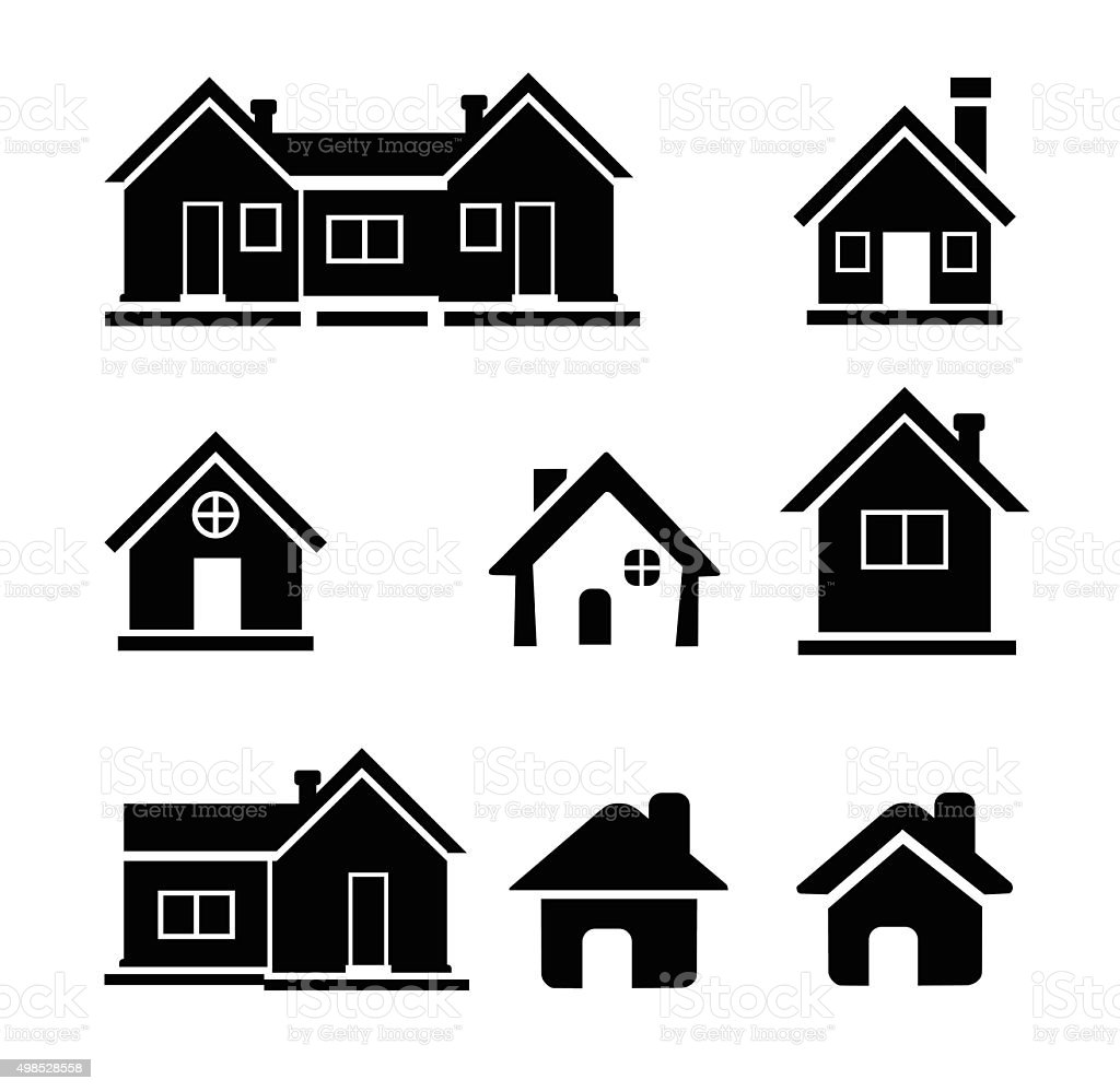 Houses icons set - Illustration vector art illustration