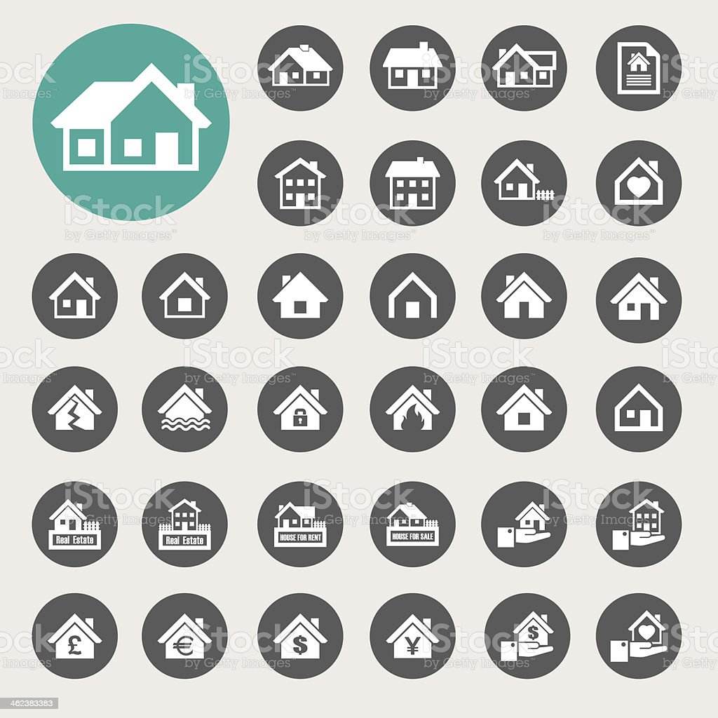 Houses icons set. Real estate. vector art illustration