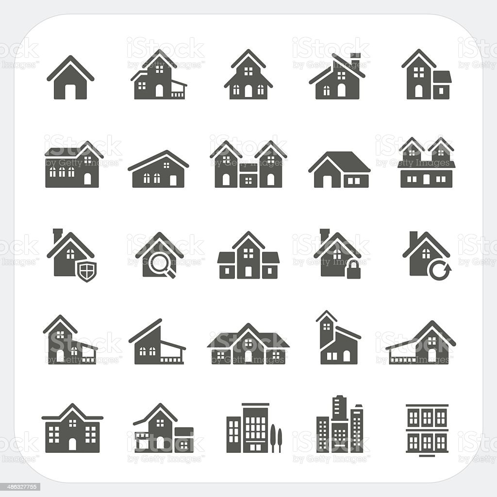Houses icons set, Real estate vector art illustration