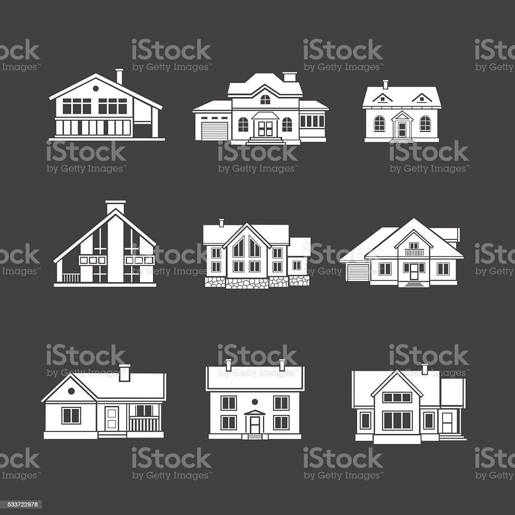 Houses icons set. Real estate. vector art illustration