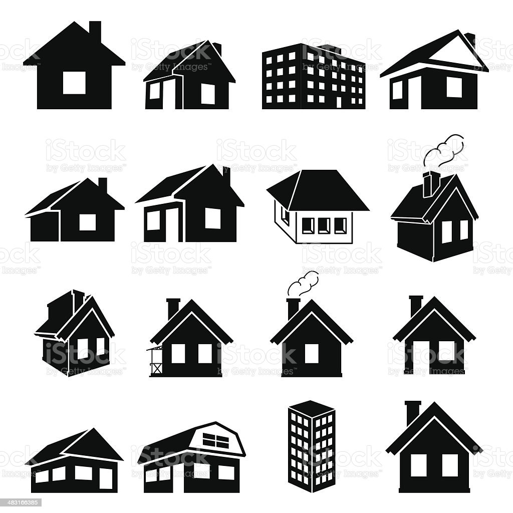 Houses icons set vector art illustration