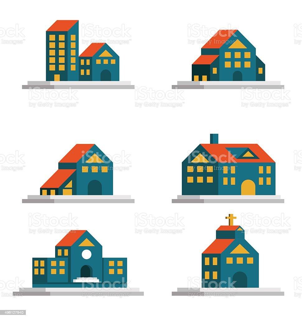 Houses icons set. vector art illustration