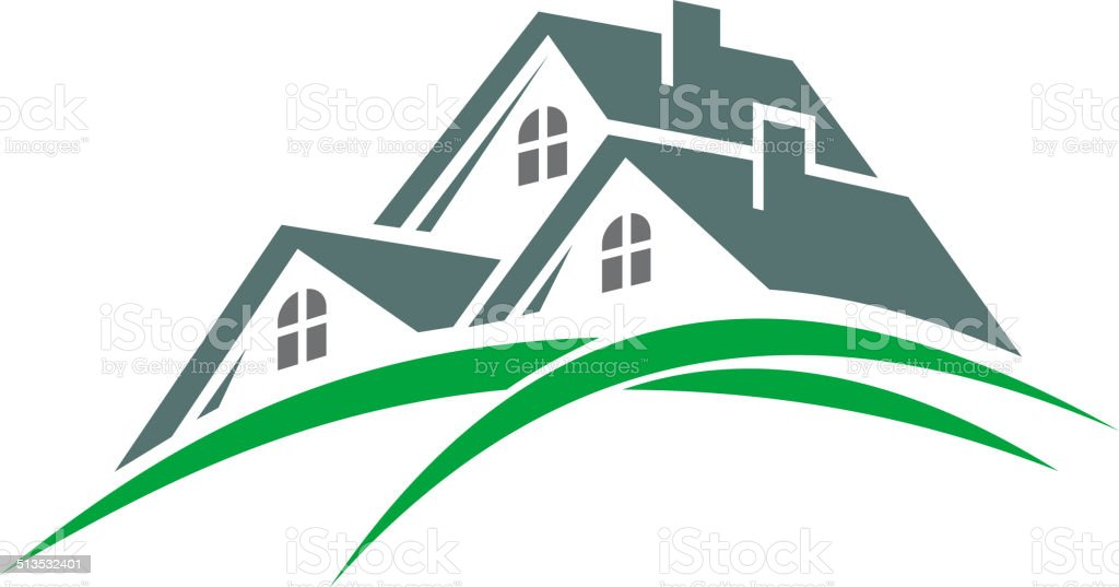 Houses in a green eco environment vector art illustration