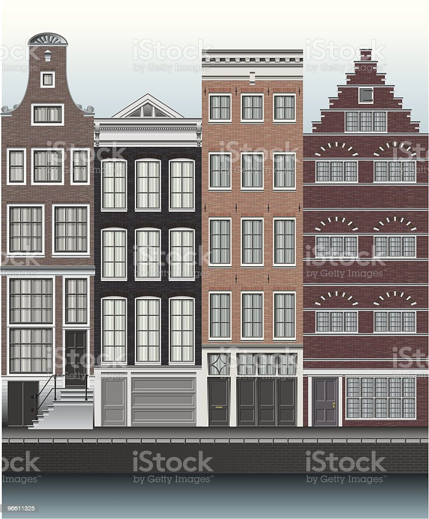 Houses in Amsterdam Along Canal vector art illustration