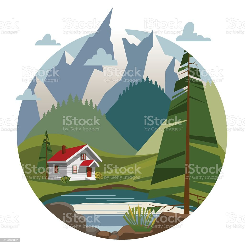 Houses in the mountains royalty-free stock vector art