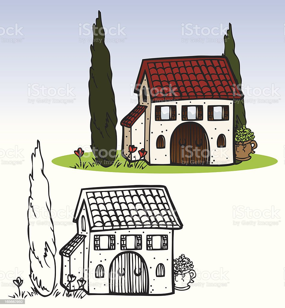 Houses - Italian Villa royalty-free stock vector art