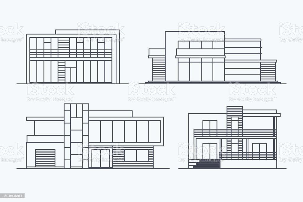 Houses linear 7 vector art illustration