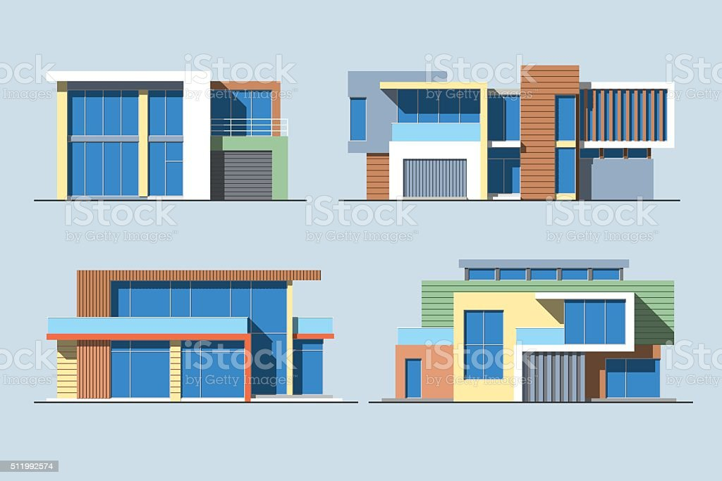 Houses linear 8 color vector art illustration