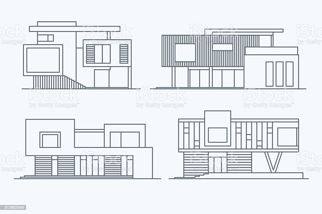 Houses linear 9 vector art illustration