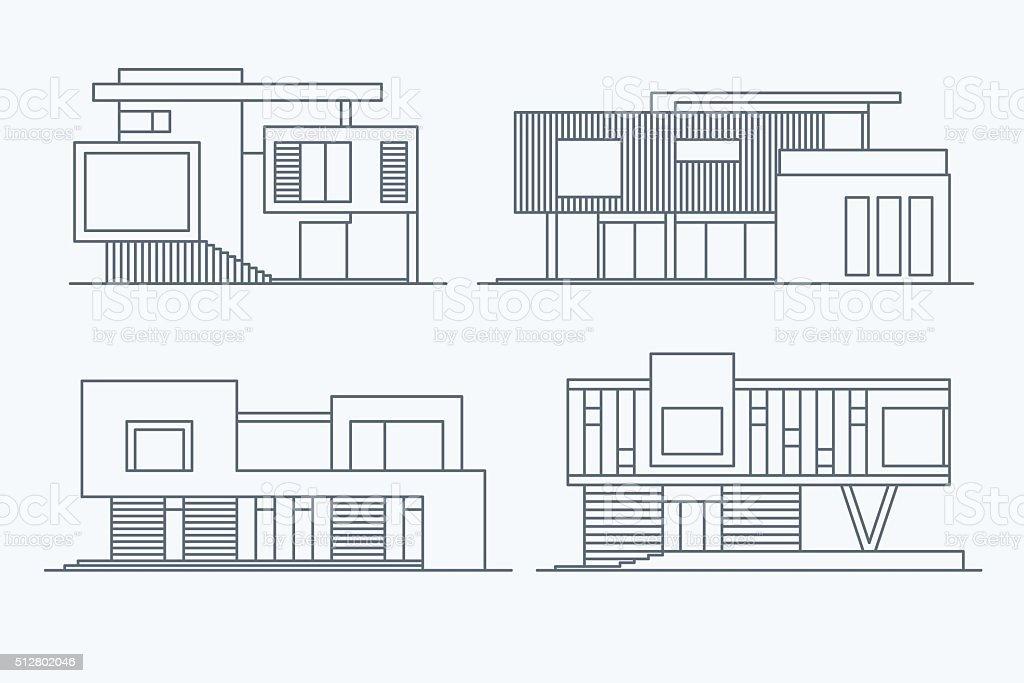 Houses linear 9 vector art illustration