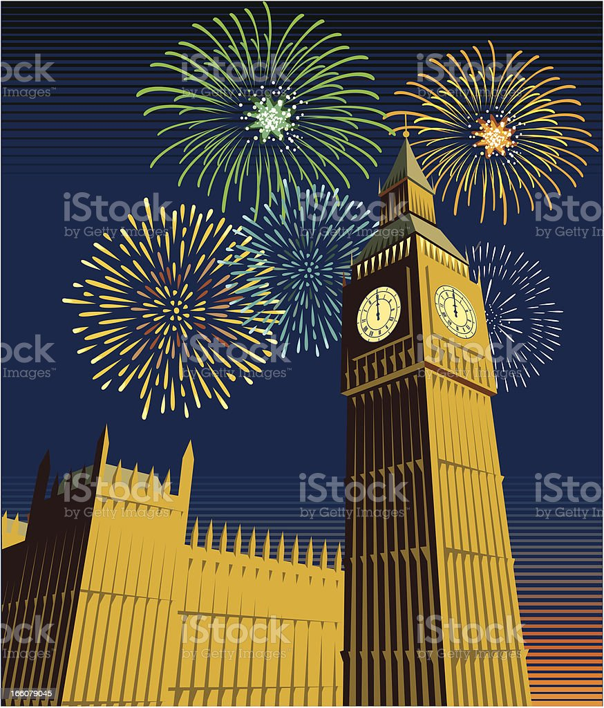 Houses of Parliament and Big Ben with fireworks royalty-free stock vector art