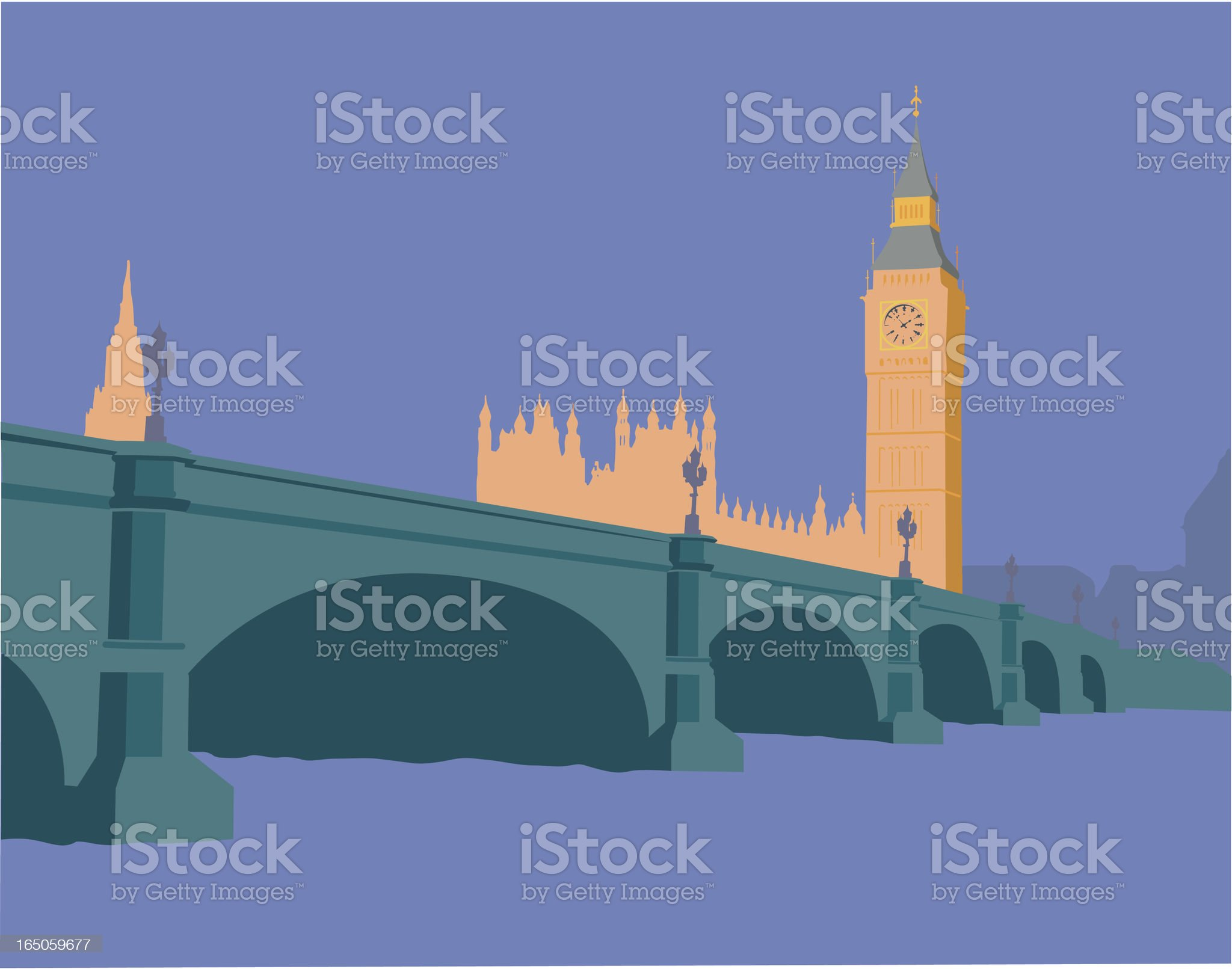 Houses of Parliament, London, England royalty-free stock vector art