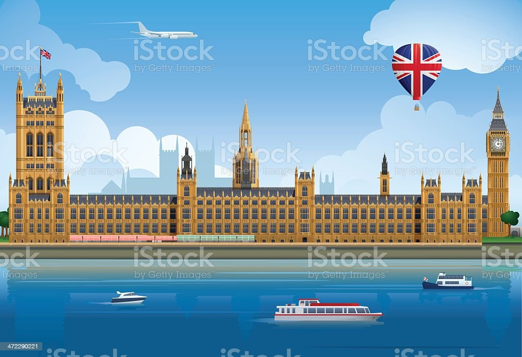 Houses of Parliament vector art illustration