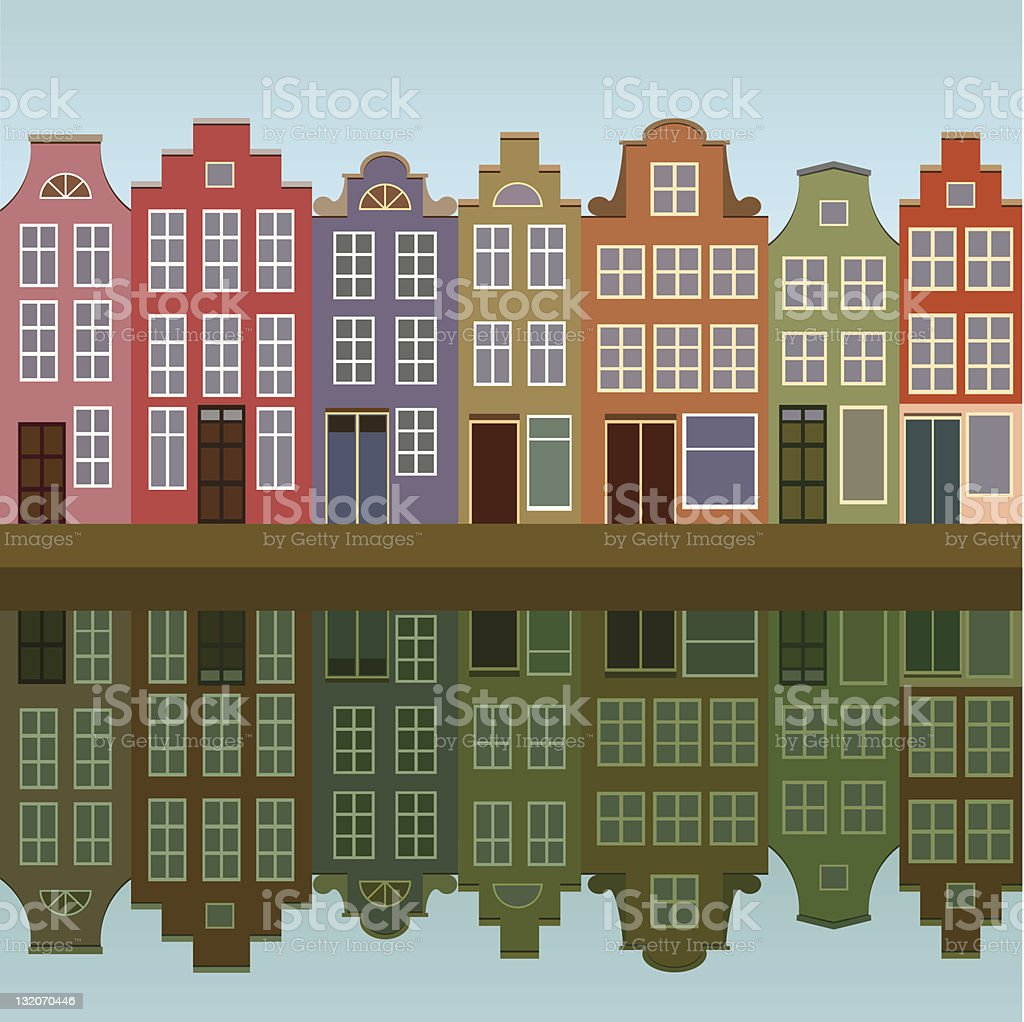 Houses on Amsterdam canal vector art illustration