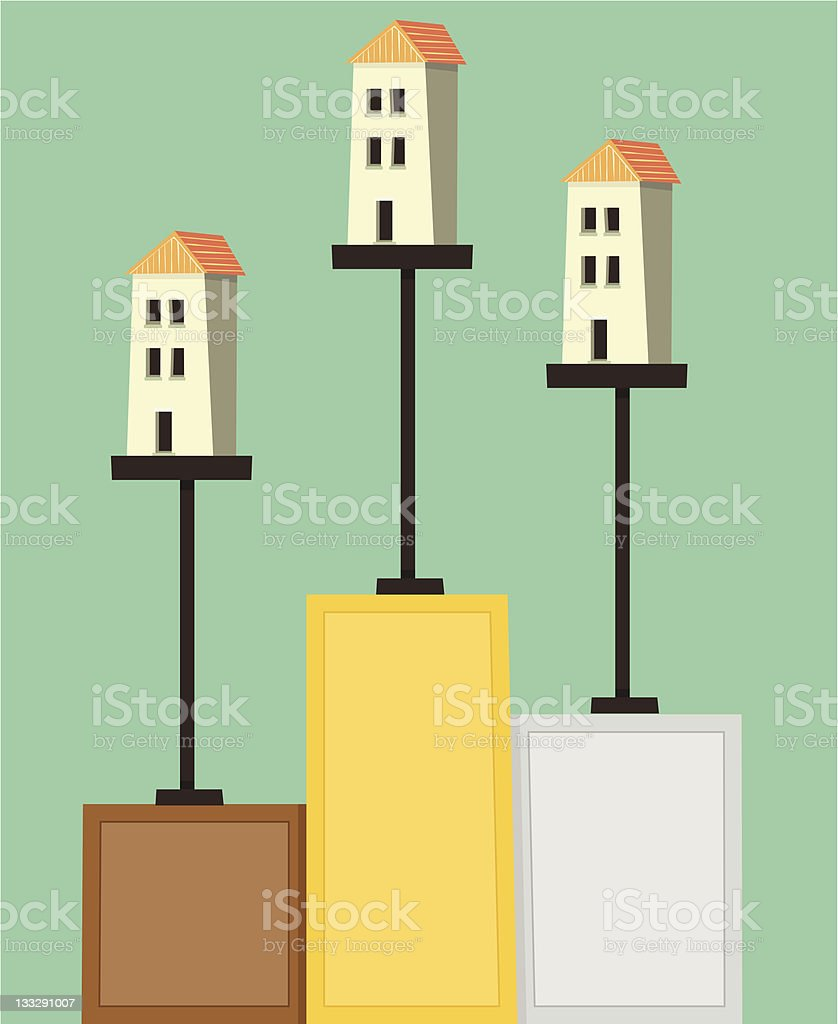 Houses on Pedestals royalty-free stock vector art