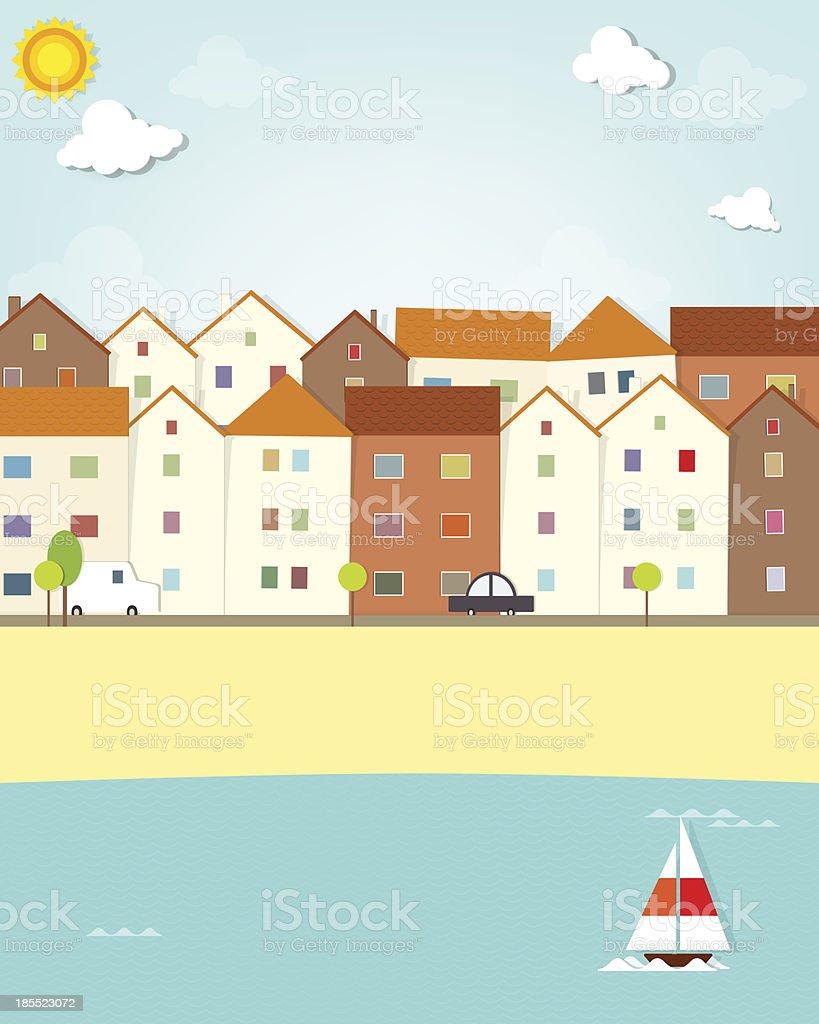 Maisons sur le front de mer stock vecteur libres de droits libre de droits