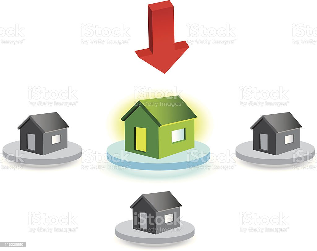 Houses placed on rounded surfaces and red arrow royalty-free stock vector art