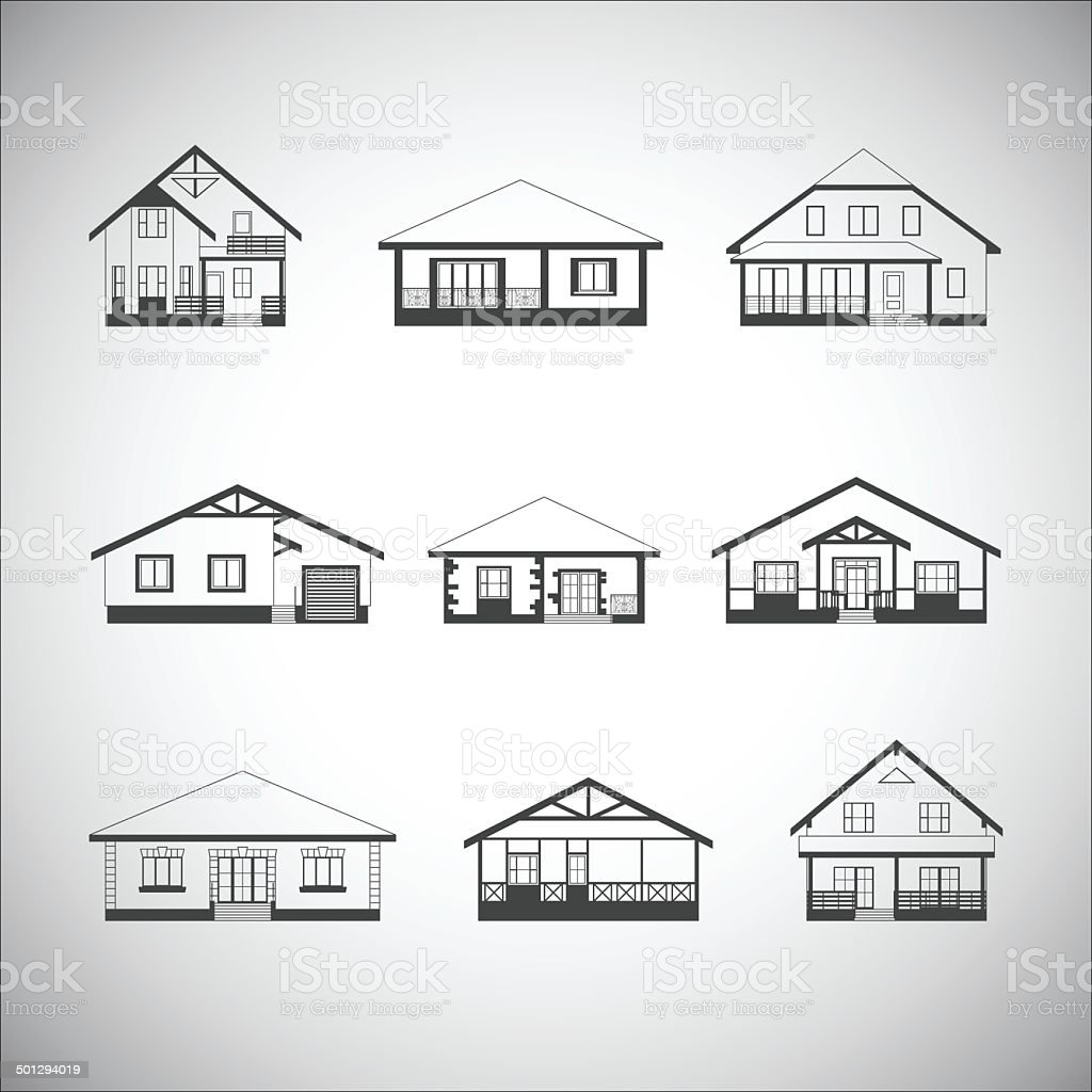 Houses set vector art illustration
